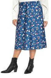 Floral Stretch Satin Midi Skirt