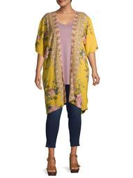 Romantic Gypsy Women's Plus Size Wide Elbow Sleeve Floral Printed Kimono
