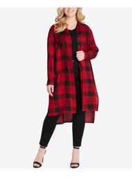 JESSICA SIMPSON Womens Red Plaid Long Sleeve Open Cardigan Top Plus  Size: 1X