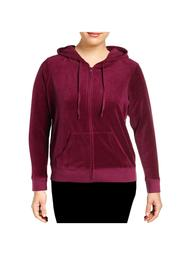 JUICY COUTURE Womens Purple Zip Up Jacket Plus  Size: 2X