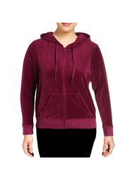 JUICY COUTURE Womens Purple Zip Up Jacket Plus  Size: 2X