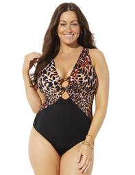 Swimsuits For All Women's Plus Size Center Ring Plunge One Piece Swimsuit
