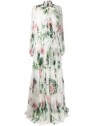 Tropical Rose print chiffon dress