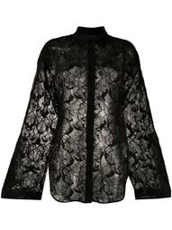 sheer floral lace shirt