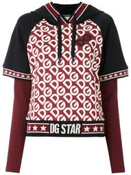 logo print layered hoodie