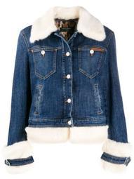 faux-fur trimmed denim jacket