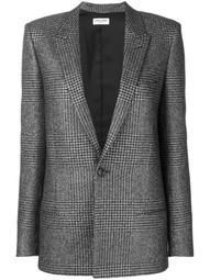 houndstooth single-breasted blazer