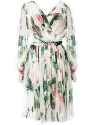 rose-print belted dress
