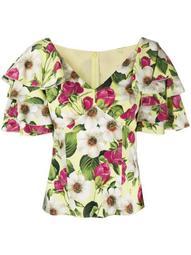 rose-print short-sleeved blouse