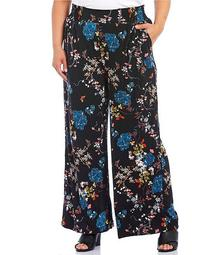 Plus Size Floral Paisley Print Knit Pull-On Pants