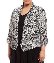 Plus Size Leopard Print Shawl Collar 3/4 Sleeve Open Front Jacket