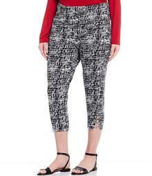 """Plus Size """"Teri"""" Love the Fit Etched Web Print Capri Cotton Blend Legging"""