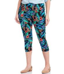 Plus Size Love the Fit Bright Palm Print Capri Leggings