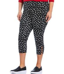 Plus Size Teri Love the Fit Dalmatian Print Knot Trim Hem Detail Capri Leggings