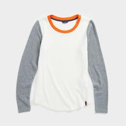 COLORBLOCK SCOOP NECK KNIT TOP