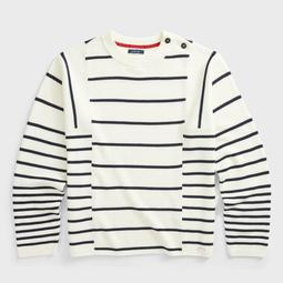 BUTTON NECK STRIPE KNIT SWEATER