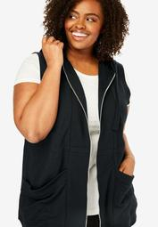 Zip-Front Hooded Tunic Vest