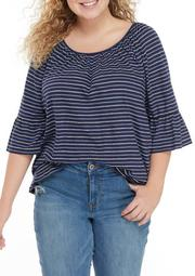 Plus Size Stripe Flutter Sleeve Knit Top