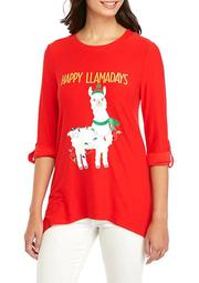 Plus Size 3/4 Sleeve High Low Llamadays Yummy T-Shirt