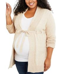 Plus Size Belted Cardigan