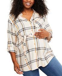 Plus Size Plaid Cotton Shirt
