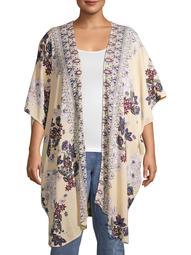 Romantic Gypsy Women's Plus Size Wide Elbow Sleeve Mixed Print Kimono