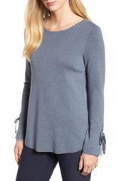 Nic + Zoe Womens Plus Essence Long Sleeves Crewneck Blouse
