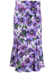 floral detail high-waisted skirt