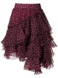 polka-dot tiered skirt