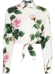 rose print tie waist shirt