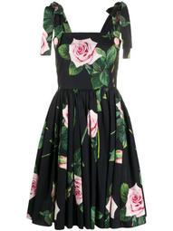 rose-print flared dress
