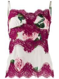 rose print lace panelled top