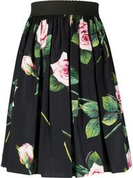 tropical rose print skirt