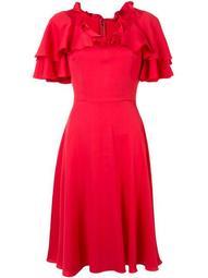 cape sleeve ruffle dress