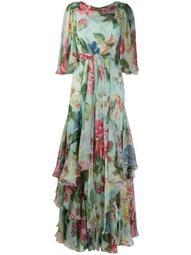 floral print draped neck dress