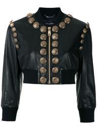button-embellished cropped bomber jacket