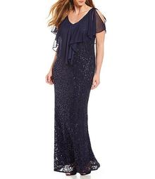 Plus Chiffon Popover Lace Gown