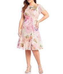 Plus Size Short Sleeve Floral Sequin Lace Dress