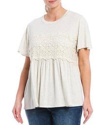 Plus Size Crochet Trim Short Sleeve Babydoll Top
