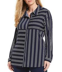 Plus Size Stripe Patchwork Print Long Sleeve Button Front Shirt