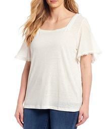 Plus Size Milly Lace Trim Square Neck Short Sleeve Top