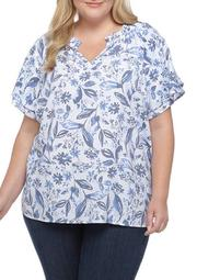 Plus Size Flutter Sleeve Split Neck Liano Top