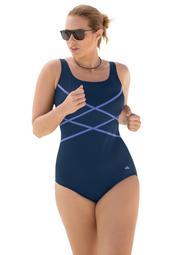 Swim 365 Women's Plus Size Crisscross Front Maillot Swimsuit