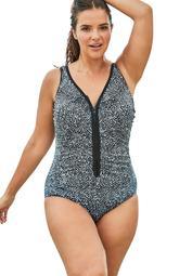 Swim 365 Women's Plus Size Zip-Front One Piece with Front Zipper Swimsuit