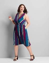 Knit Kit Crossover Striped Fit & Flare Dress