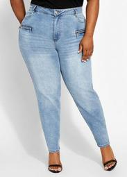 Zip Accent High Waist Skinny