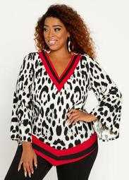 Leopard Colorblock Asymmetric Top