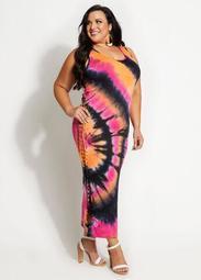 Tie Dye Cutout Bodycon Maxi Dress