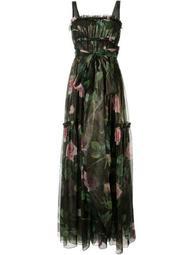 rose print evening dress