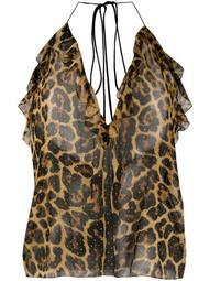 leopard print studded top